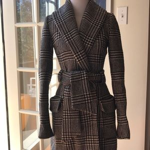 Karen Millen checkered black/white wrap wool coat